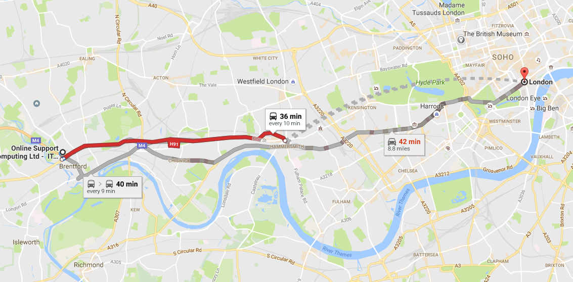 Map of West London showing Online Support's location